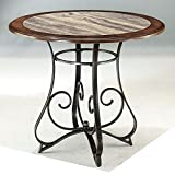 Faux Marble - Round Dining Table in Medium Brown Finish - Base Only