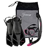 Seavenger Diving Snorkel Set- Dry Top Snorkel / Trek Fin / 2-windows Tempered Glass Mask / Gear bag- Pink Ribbon - Black Silicone - Small/Medium