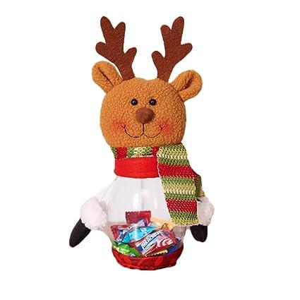 Naisicatar Botella de Caramelo del Caramelo de la Navidad 1pc Jar Alces Decoración niños del Partido