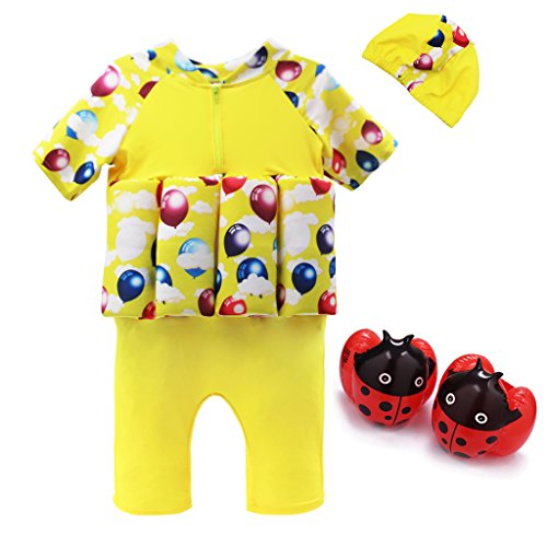 Kids Swim Suit Toddler Float Swimwear with Cap and Armband Sun Protection