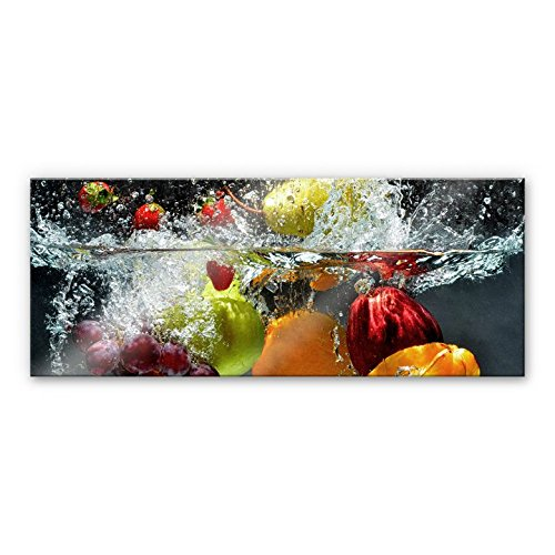 Refreshing Fruit Kitchen Splashback Glass art I Tempered Glass Wall Art I Print on Glass with rounded edges I incl. Steel Clamps - Wall-Art US (39.3'' x 15.7'')
