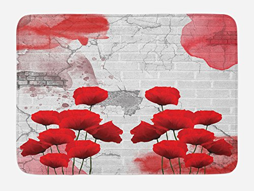 Ambesonne Poppy Flower Bath Mat, Flourishing Rural Field Vibrant Blooms on Weathered Brick Wall Backdrop, Plush Bathroom Decor Mat with Non Slip Backing, 29.5