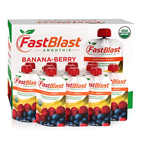 FastBlast Banana-Berry Smoothie. Supports Intermittent Fasting. Controls Appetite and Maintains Energy. USDA Certified Organic, Vegan, Non-GMO, Soy Free & No Added Sugar (12 Units)