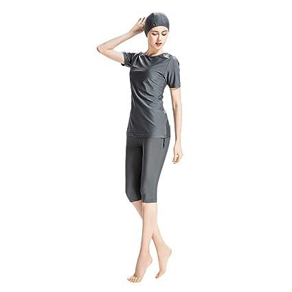 Pingtr - Damen Neoprenanzug kurzen Ärmeln Frauen Bescheidenheit Jumpsuit Kurzarm Badeanzug
