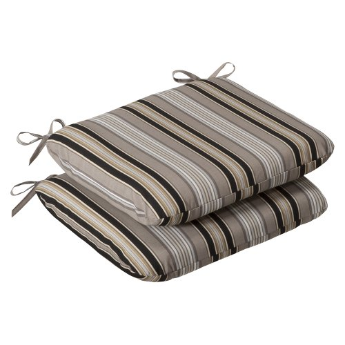 Pillow Perfect Indoor/Outdoor Black/Beige Striped Seat Cushion, Rounded, (Wrought Iron Onyx)