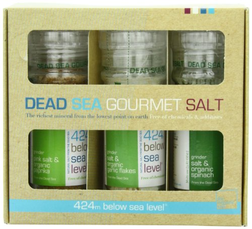 Salt 424 Three Grinder Pack 100% Organic Salts, Pink, Garlic and Spinach, 25.11 Ounce