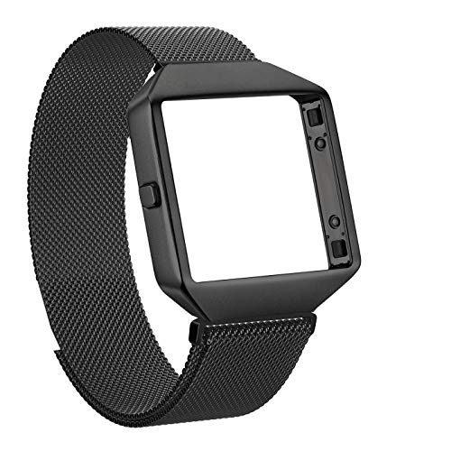 Akale Compatible with Fitbit Blaze Bands, Small and Large Stainless Steel Band with Metal Frame Replacement Strap Wristband for Fit bit Blaze Smart Fitness Watch, (Black Small) (Black Blaze)