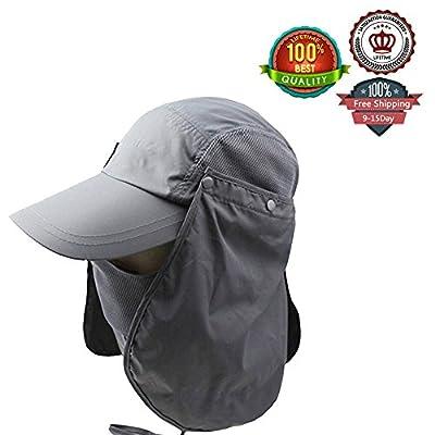 Ezyoutdoor Unisex Pure Color Outdoor Sport 360 Degree Summer Sun Quick drying Sunscreen protection fishing Riding Climbing Caps Bucket Hat Jungle Hat(black)