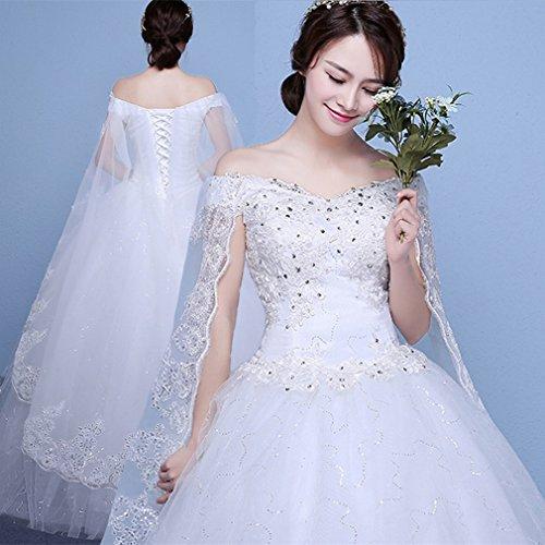 Vestido de Novia de la Novia Palabra Hombro Vestido de Novia Vestido de Novia de Tama?o Grande Era Princesa Princesa Delgada Vestido de Novia de Falda de la ...