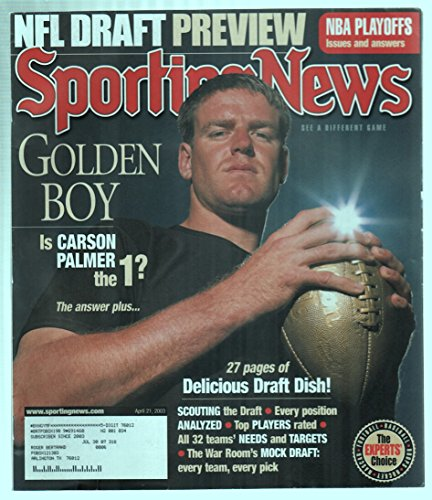 The Sporting News Magazine April 21, 2003 Golden Boy Carson Palmer Draft Cover GOOD