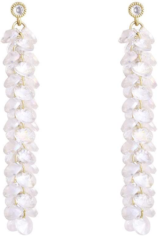 ZJMKFJL Pendientes de Aguja de Plata S925, racimos de UVA de Cristal, Pendientes Largos con borlas de súper Hadas