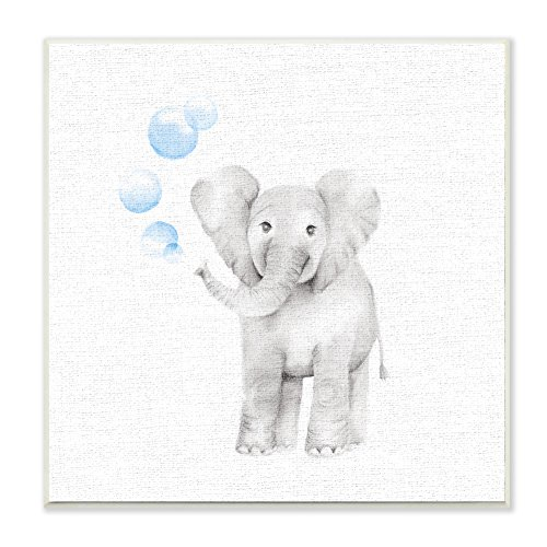 Stupell Industries Baby Elephant Blue Bubbles Linen Look Wall Plaque Art, Proudly Made in USA