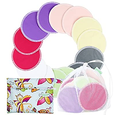 Organic Bamboo Nursing Pads (14 Pack)+Laundry Bag & Travel Bag,2 Sizes:3.9/4.7inch Option - Reusable Nursing Pads