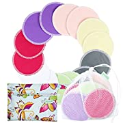 Organic Bamboo Nursing Pads (14 Pack)+Laundry Bag & Travel Bag,2 Sizes:3.9/4.7inch Option - Washable & Reusable Nursing Pads(Large, Nighttime Use)