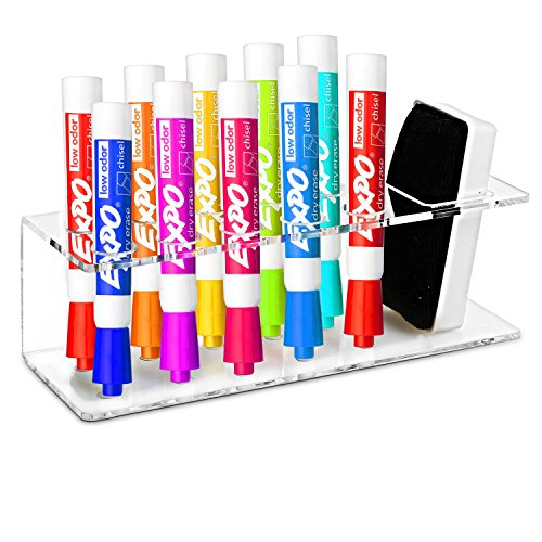 Clear Acrylic Wall Mountable 10 Slot Dry Erase Marker & Eraser Holder Organizer Rack - MyGift
