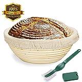 9 Inch Bread Proofing Basket,WERTIOO Banneton Proofing Basket + Dough Scraper + Linen Liner Cloth for Professional & Home Bakers (Sourdough Recipe)