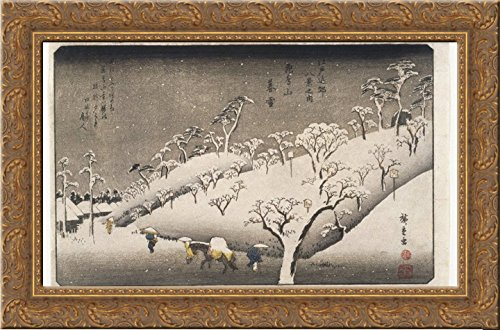 Evening Hiroshige Snow (Evening Snow on the Asuka Mountain 24x18 Gold Ornate Wood Framed Canvas Art by Hiroshige)
