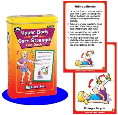 Upper Body and Core Strength Exercise Flash Cards - Super Duper Publications Educational Learning Toy for Kids by Super Duper® Publications