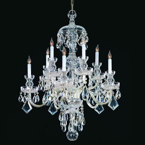 4418-GD-CL-SAQ Maria Theresa 19LT 2-Tier Chandelier, Polished Brass Finish with Clear Swarovski Spectra (Crystorama Swarovski Spectra Crystal Chandelier)