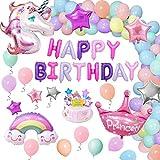 Unicornio Decoraciones Cumpleaños de Fiesta para Niños, Enormes 3D Globos de Unicornio Cumpleaños Estandarte,Globos de…