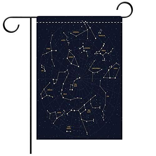 BEICICI Custom Personalized Garden Flag Outdoor Flag Constellation Sky Map Andromeda Lacerta Cygnus Lyra Hercules Draco Bootes Lynx Dark Blue Yellow White Best for Party Yard and Home Outdoor Decor