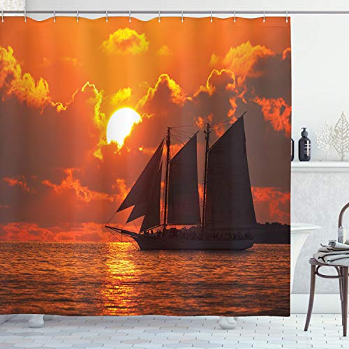 Ambesonne Sailboat Shower Curtain, Boat Sailing in Front of Sunset in Key West FloridSundown Tropical, Cloth Fabric Bathroom Decor Set with Hooks, 75