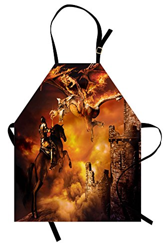 [Modern Apron by Ambesonne, Kids Nursery with a Knight on a Horse Castle Mystic Fairytale Artwork Print, Unisex Kitchen Bib Apron with Adjustable Neck for Cooking Baking Gardening, Black and Marigold] (Mystic Fairy Costume)