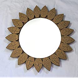 Hand Crafted Antique Wooden Sand Texture Leaves Border Decorative Wall Mounting Mirror | Premium Wall Decor Accents | Hind Handicrafts (Mango Wood) (Round)
