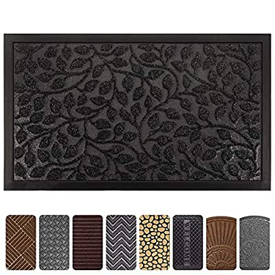 Mibao Durable Rubber Door Mat, Waterproof Non-Slip Easy Clean Low-Profile Heavy Duty Mats for Entry, Patio, High Traffic Areas