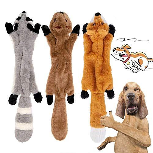 YAMI 3 Pack Hund Quietschende Kauen Spielzeug Keine Füllung Hund Spielzeug Plüsch Tier Hundespielzeug für Kleine Medium…