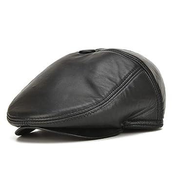 LXMDCAPA Sombrero 100% Cuero Genuino Gorras De Vendedor De Periódicos Gorros De Hombre Gorras De Cuero, Negro,: Amazon.es: Deportes y aire libre