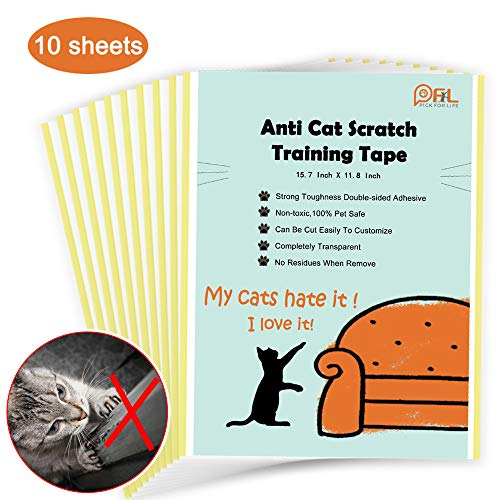 Cat Scratching Deterrent Tape, No Residue Anti Scratch Cat Training Tape for Couch, Removable Double Sided Sticky Adhesive Furniture Protector (Large Size 15.7in X 11.8in,10 Sheets) (10 Sheets)