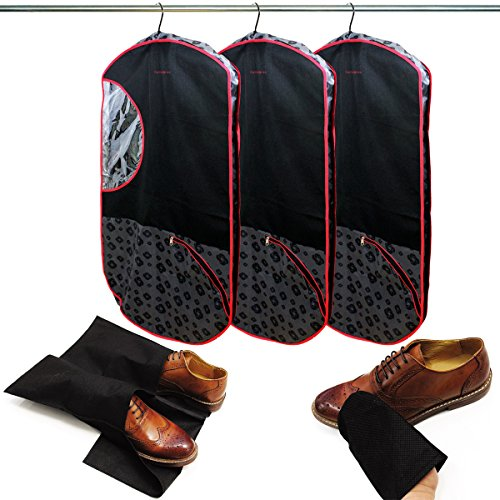 3 Sets Of Samsonite Deluxe Hanging Travel Suit Garment Bags & Shoe Clothing Storage Bags + Cleaning Mitts Closet Organizer