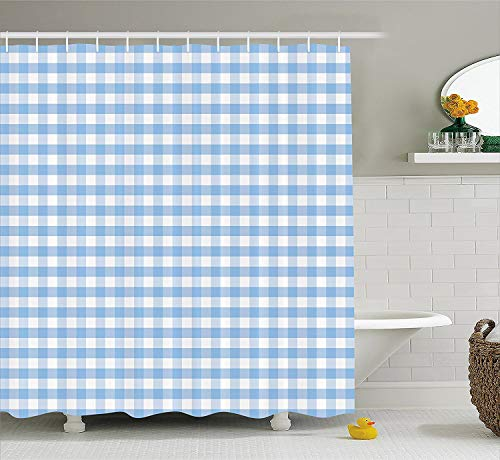 Gingham Shower Curtain (OneHoney Checkered Fabric Shower Curtain, Little Squares and Stripes Pastel Color Gingham Repeating Rows Vintage Tile,Light Blue White)
