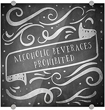Chalk Banner Premium Acrylic Sign 5-Pack 16x16 Alcoholic Beverages Prohibited CGSignLab