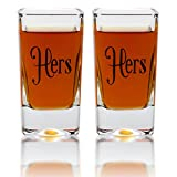 Hers & Hers Square Shot Glasses – Gay Couple Same Sex Tall Shot Set – Engagement, Wedding, Anniversary, House Warming, Hostess Gift – 2.8 Ounce