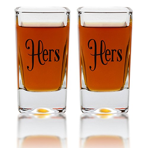 Hers & Hers Square Shot Glasses - Gay Couple Same Sex Tall Shot Set - Engagement, Wedding, Anniversary, House Warming, Hostess Gift - 2.8 Ounce