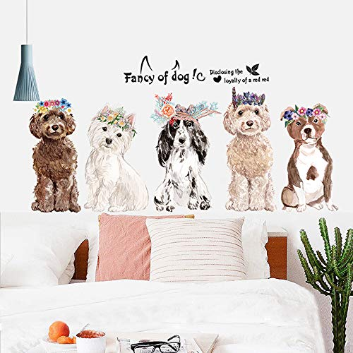 huangliao Fancy of Dog Wall Stickers Wall Decor for Bedroom Living Room Removable Vinyl Art Mural Decals for Girls Boys Kids