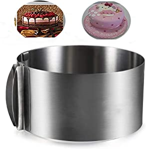 Cake Ring 6 inch Funnel Cake Kit Molds Adjustable 6-12 inch Pastry Ring Cake Pan Mold Tiramisu Mousse Stainless Steel 2 IN 1 For Baking Kitchen Pastry Tools