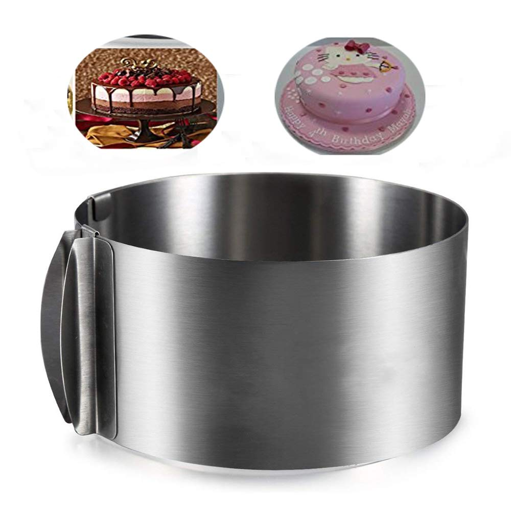 Cake Ring Mold Adjustable 6-12inch Cake Mold Tiramisu Mousse Stainless Steel 2 IN 1 Baking Mold Ring Kitchen Pastry Tools