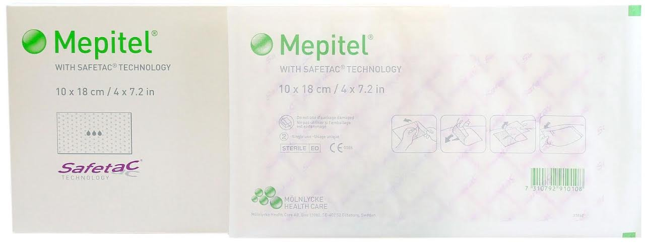Mepitel Non Adherent Silicone Scar Wound Dressing 4'' x 7.2'' - Box of 10 Dressings