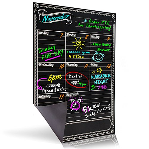 Bigtime Weekly Family Calendar Planner / Day Organizer. Magnetic Dry Erase Chalkboard Style Background for Mom - 16x12