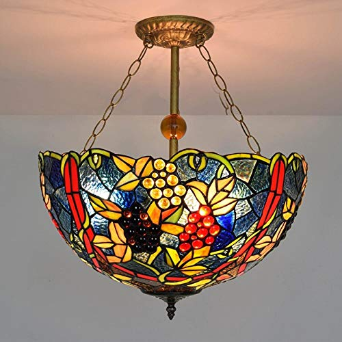 (Chandelier - European Retro Tiffany Stained Glass Cafe bar Bedroom Restaurant Clubhouse Garden Grape Anti-Hanging Lamps - Chandeliers in)