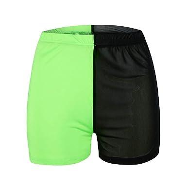 49ed4b11079a21 Fiaya Women Sexy Elastic Mesh See Through Short Hot Pants Waistband Yoga  Running Shorts (S