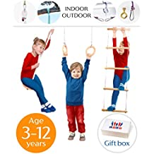 Jungle Gym Swing Kids Play Set - Gorilla gym playset for boys girls - Indoor Outdoor playground kit for children gymnastics - Active gym play set for 3-12 y.o kids - 100% organic made