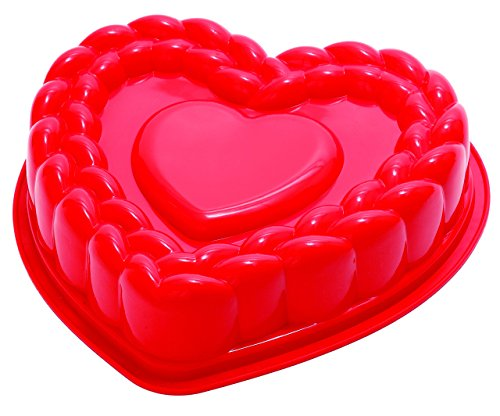 - Pavoni FRT184RSA Platinum Silicone Braid Heart Cake Mould, Red