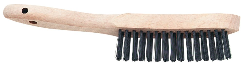 PFERD 85011 Curved Handle V-Groove Scratch Brush.012 Stainless Steel, 3 x 14 Wire Rows, 13-3/4'' Length x 1-1/8'' Width Block Size (Pack of 12)