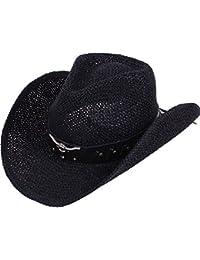 Unisex Mens Womens Sun Hat Wide Brim Woven Western Straw Cowboy Hat 1c6e1908fdc0