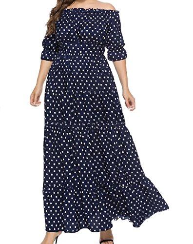 Coolred-femmes Dot Bustier Bohème Élégante Grande Robe De Vêtements De Plage Oversize Ourlet 5xl Bleu