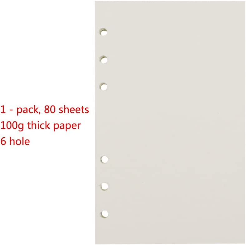pages int/érieures lign/ées 45 feuilles A7 Dots Paper-A7 Papier de recharge standard A5 A6 A7 /à 6 trous pour classeur /à spirales carnets de notes feuilles en vrac agendas